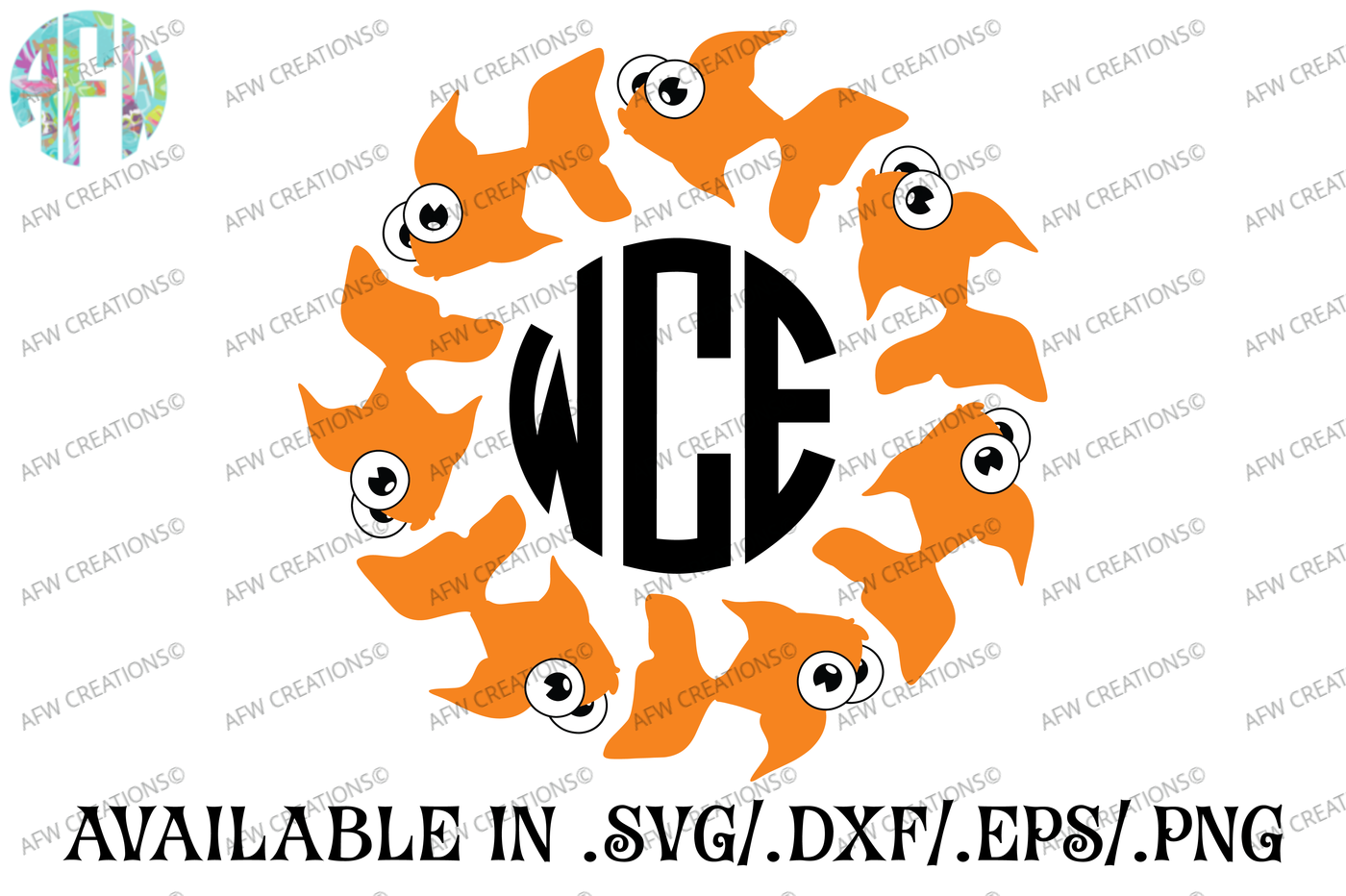 Tropical Fish Monograms Svg Dxf Eps Cut File By Afw Designs Thehungryjpeg Com