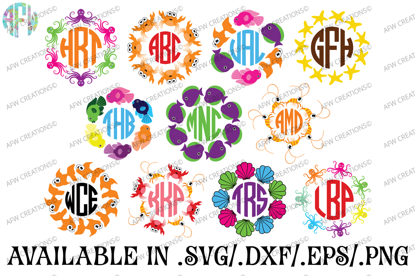Tropical Monograms Svg Dxf Eps Cut Files By Afw Designs Thehungryjpeg Com