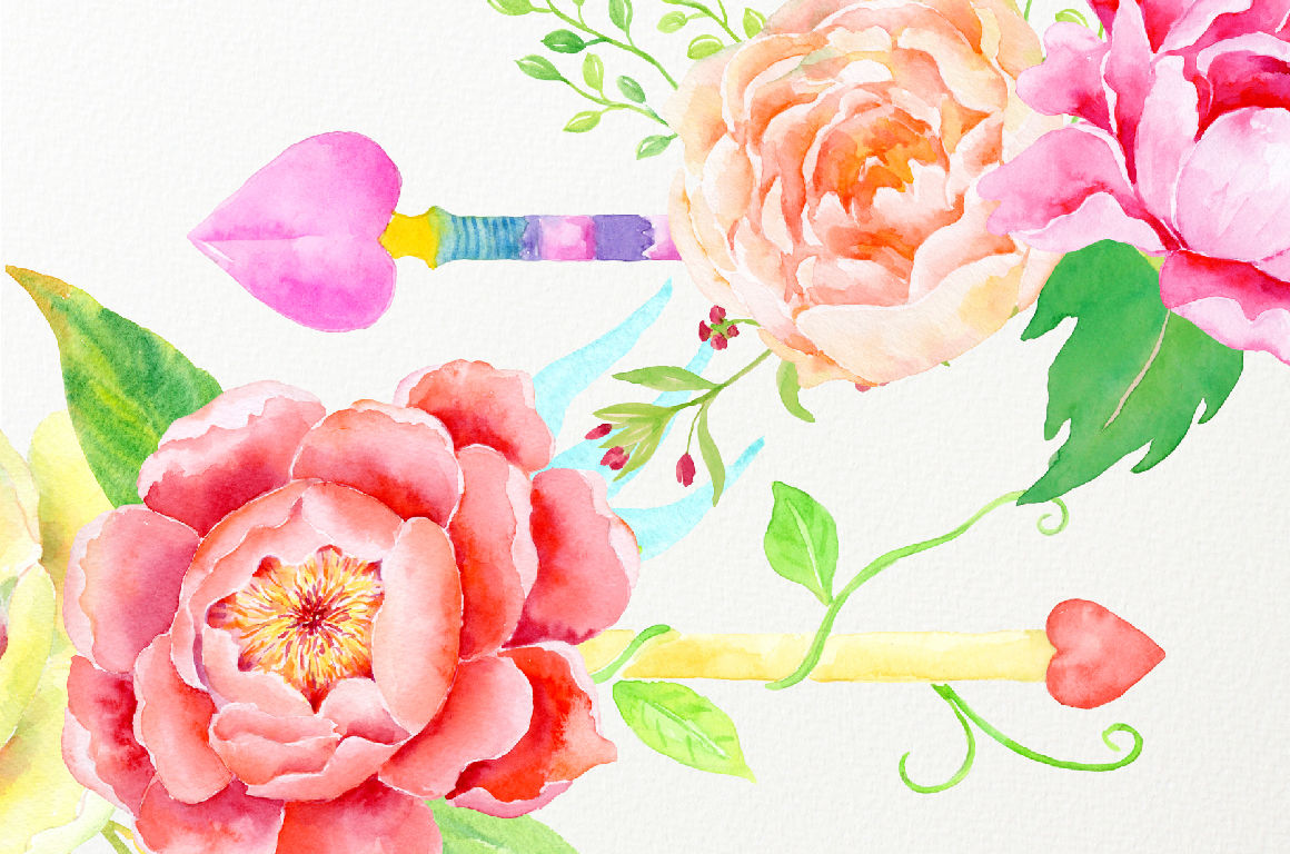 Watercolor Clipart Boho Floral Arrows By Cornercroft ...