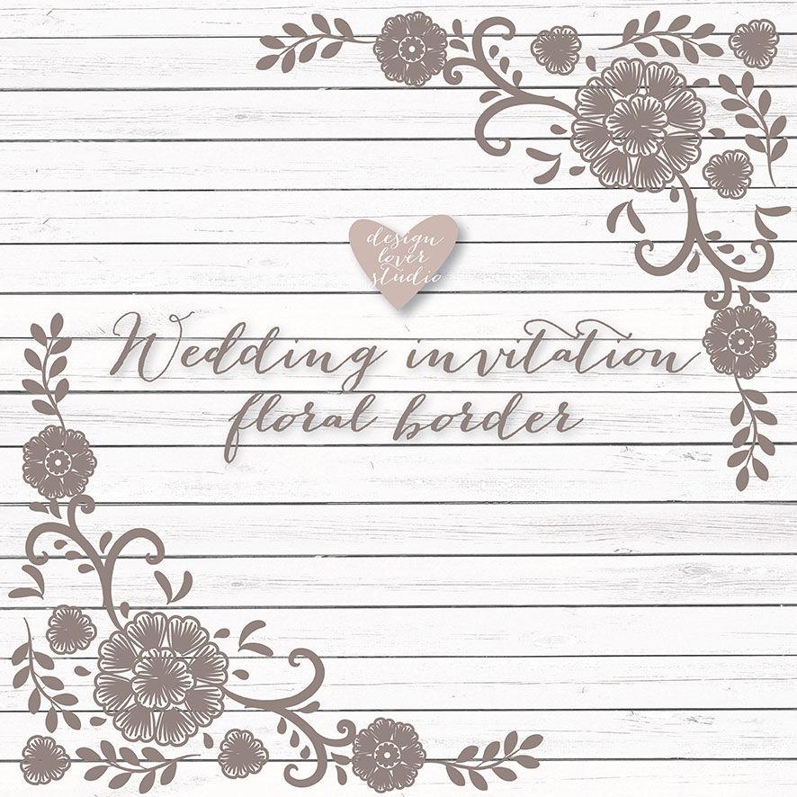 Lace wedding invitation. Vector border rustic frame