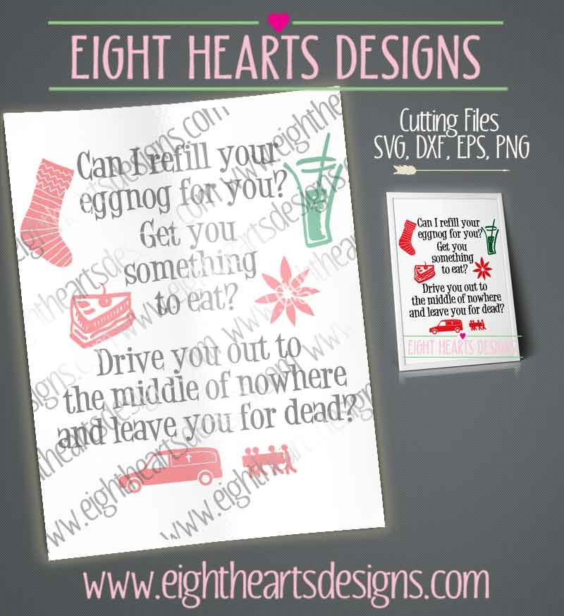 Can I Fill Your Egg Nog Christmas Quote By Eight Hearts Designs