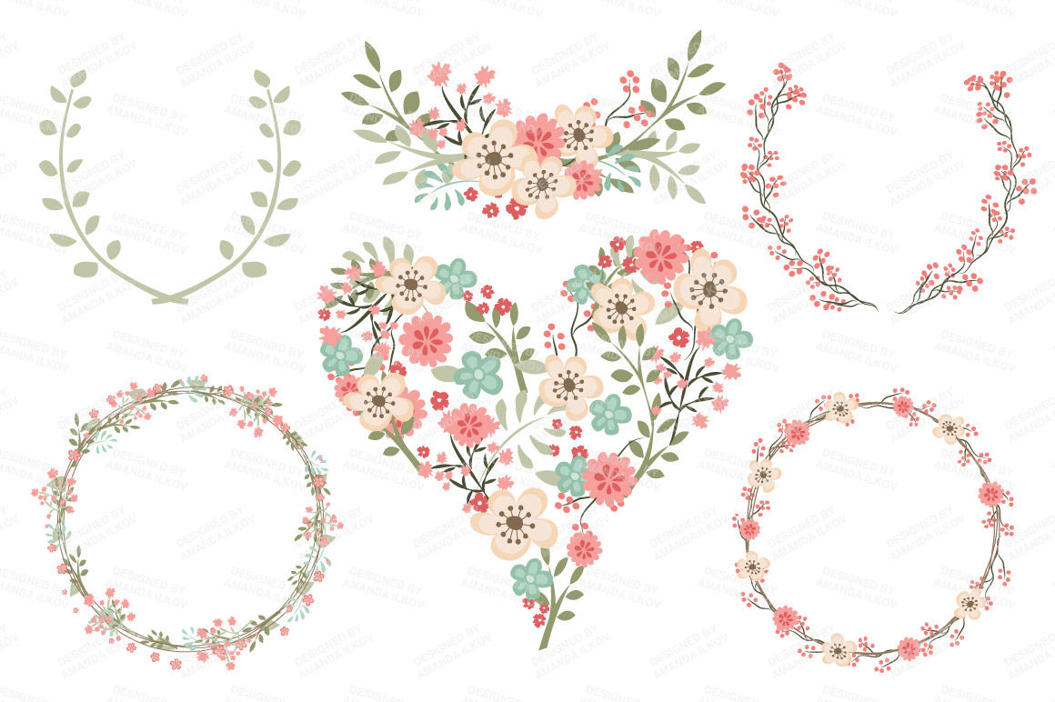 Clara Vintage Floral Wedding Heart Clipart in Mint & Coral ...