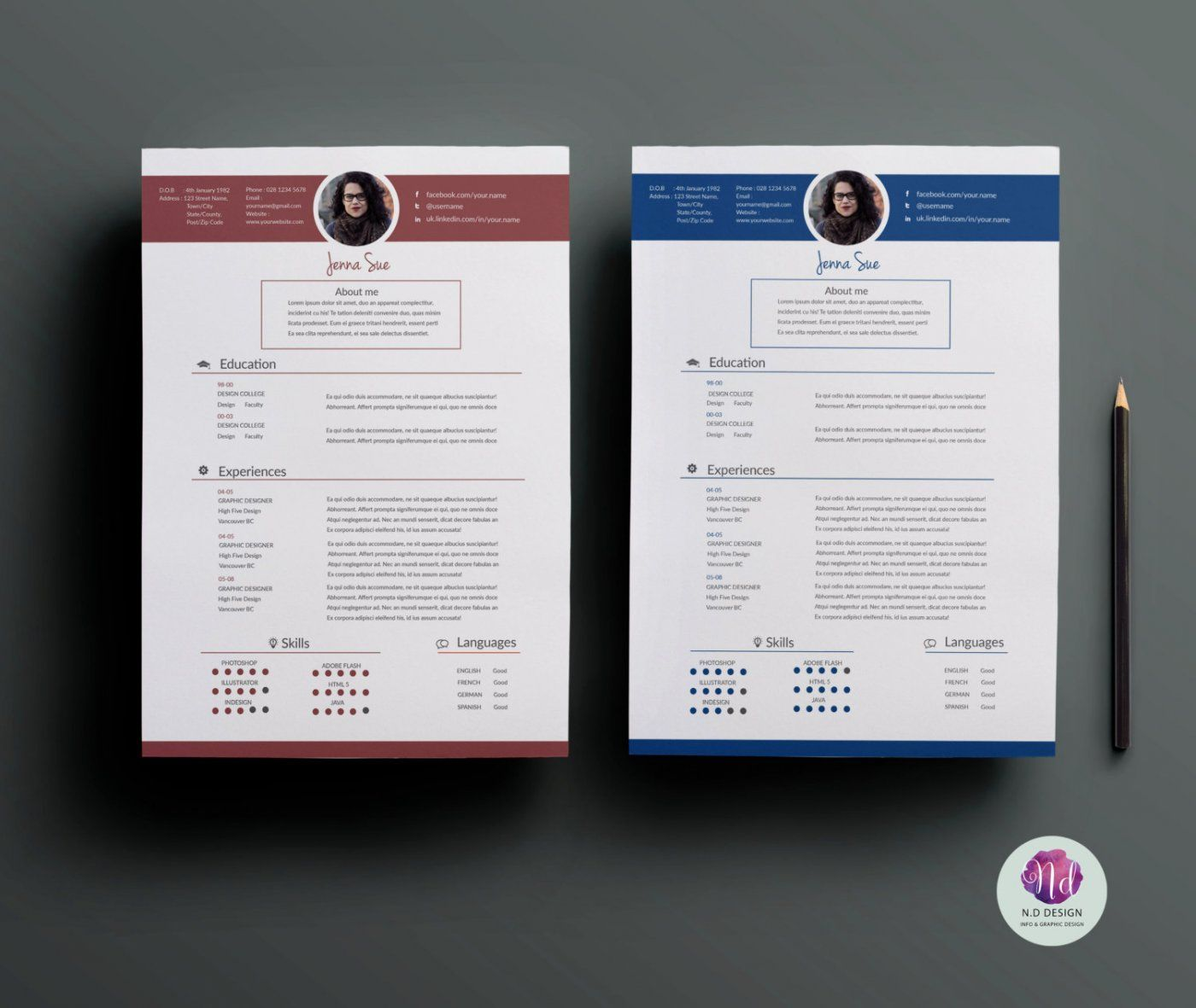 2 color options   cv template   cover letter template   references template by chic templates