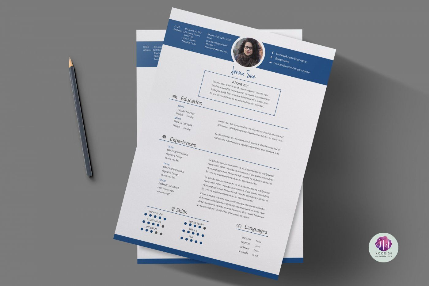 2 Color Options Cv Template Cover Letter Template