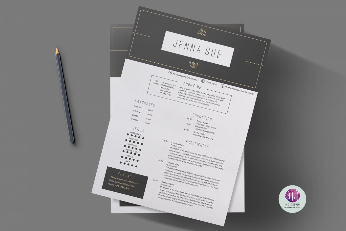 Modern Resume Template Cover Letter Template References Template By Chic Templates Thehungryjpeg Com