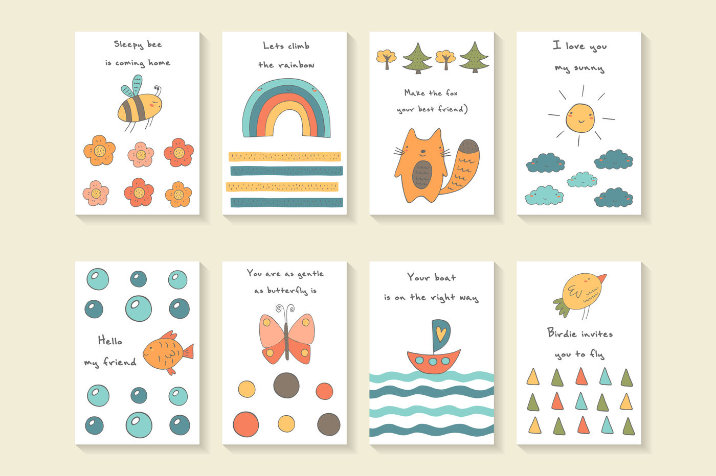 Cute Postcards By Veresk | TheHungryJPEG.com