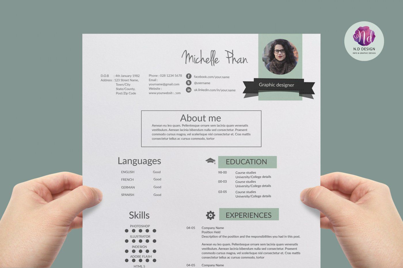 modern resume template   cover letter template