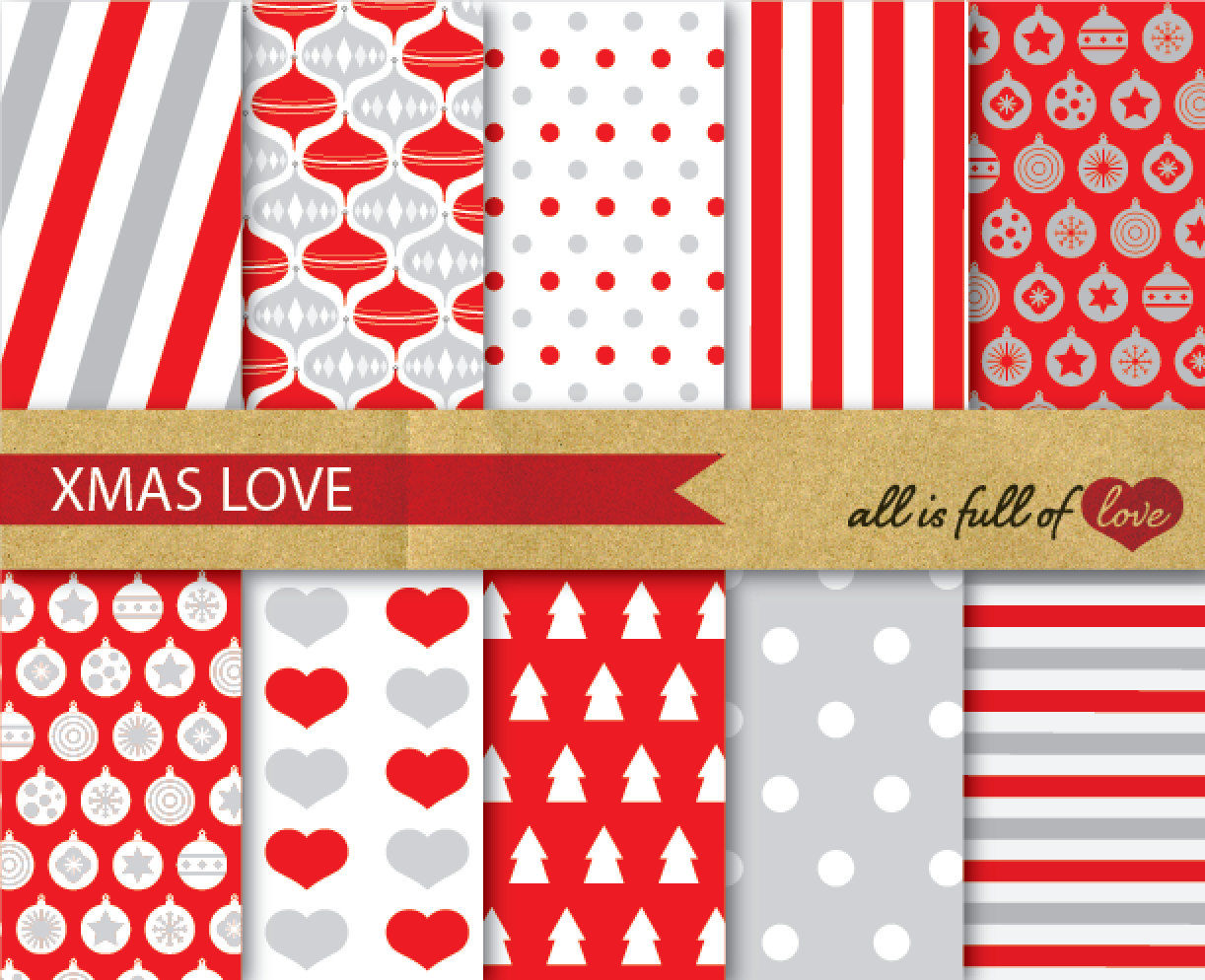 Red Silver Christmas Backgrounds Red Grey Christmas Digital Paper
