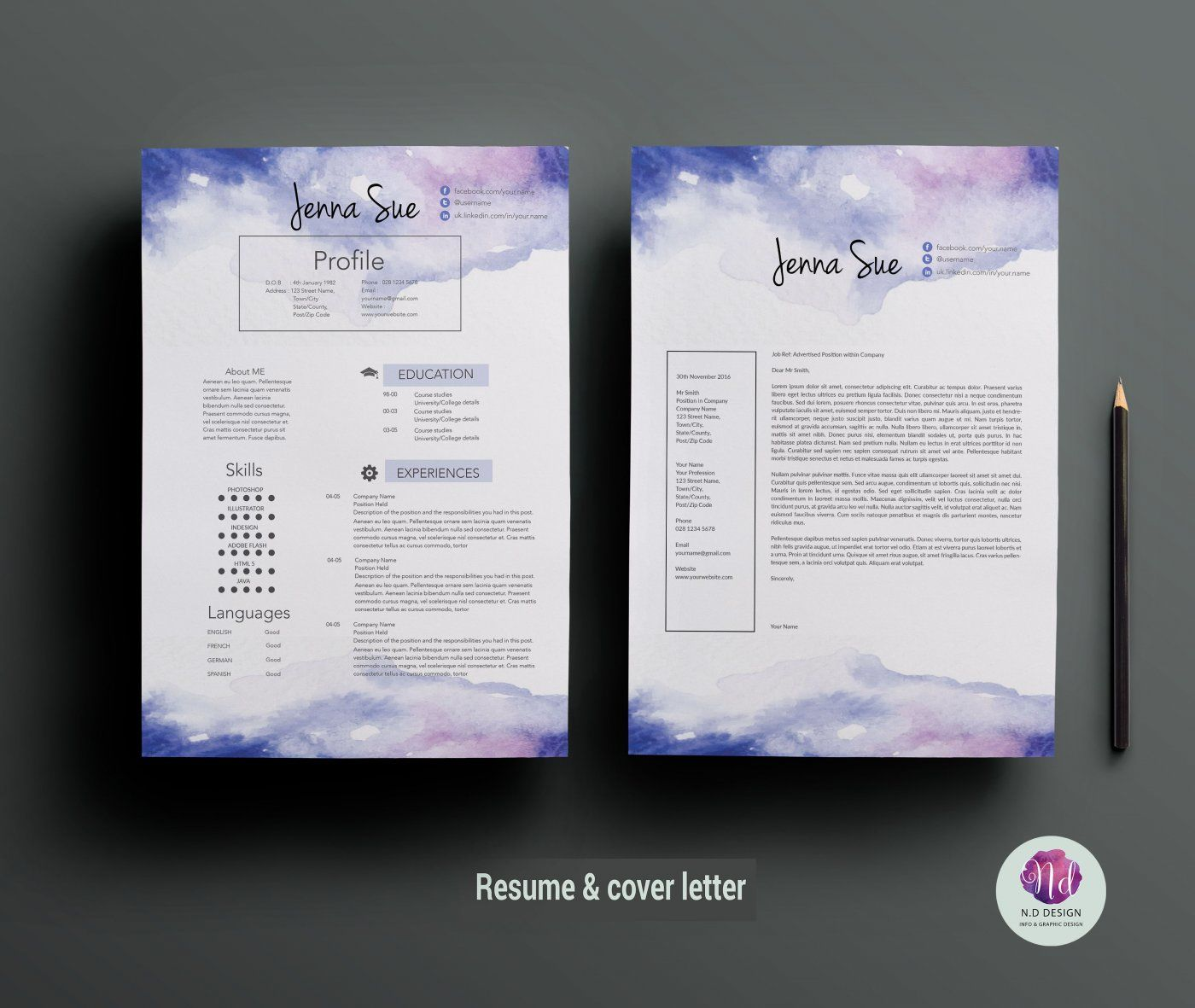 Creative CV template, cover letter template ( watercolor ...