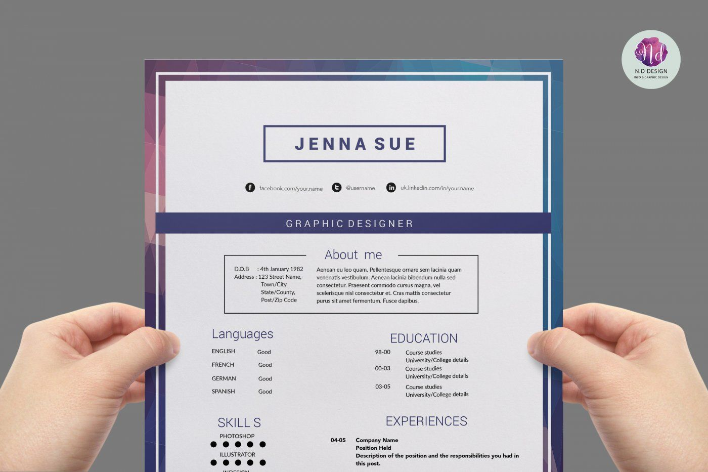 Modern 2 page resume template , cover letter template , references ...