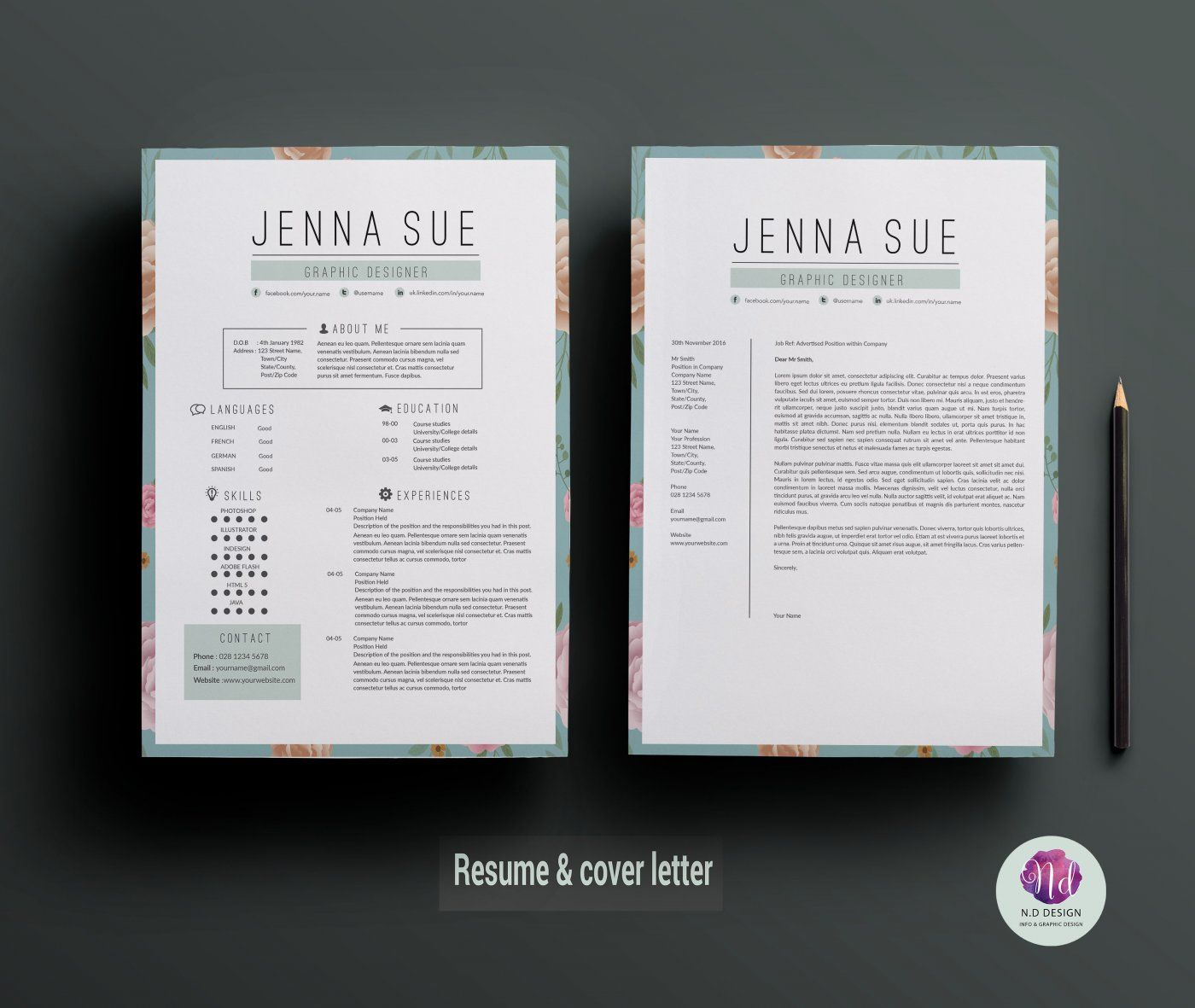 Vintage resume template , cover letter template , references