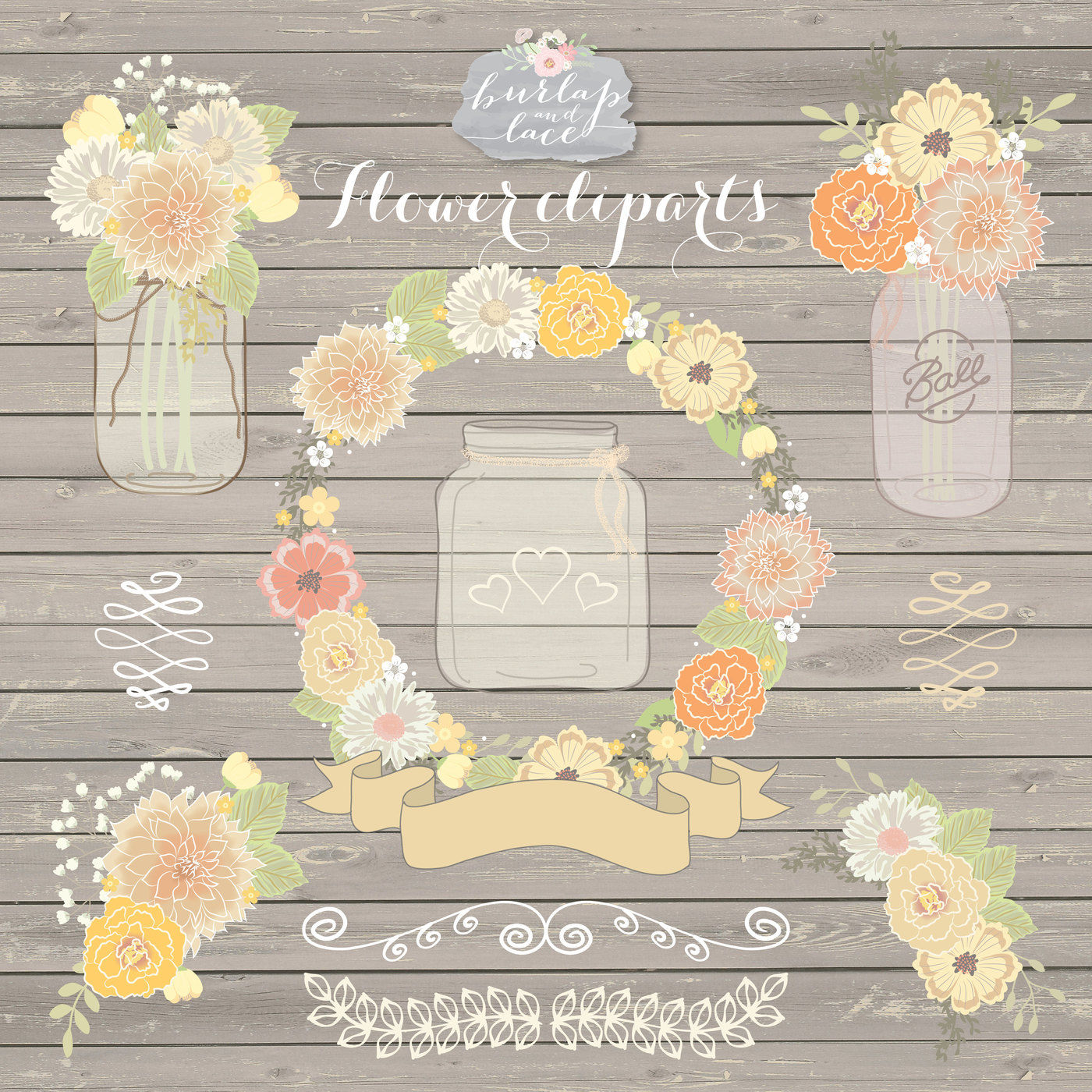 Vector Rustic wedding clipart, shabby chic clipart, Hand