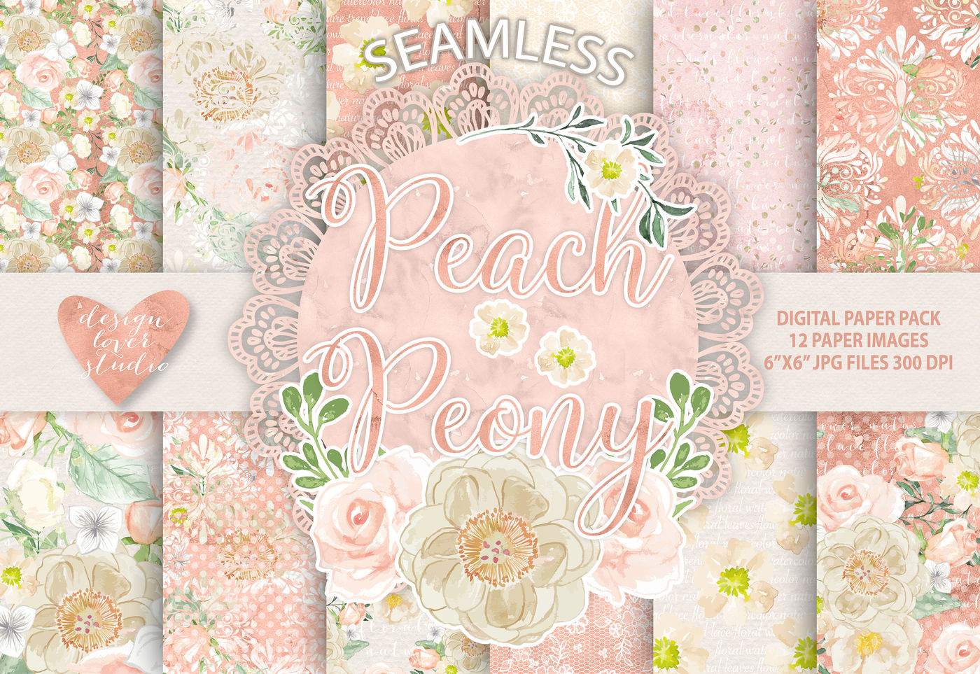 Watercolor Peony Peach Flowers Digital Paper Flower Background