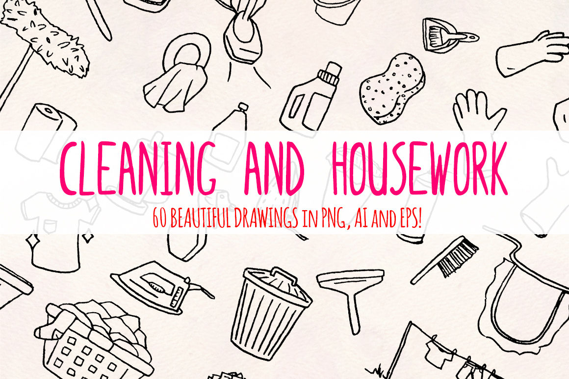 Cleaning 60 Housework Illustrations Vector Graphics Bundle By