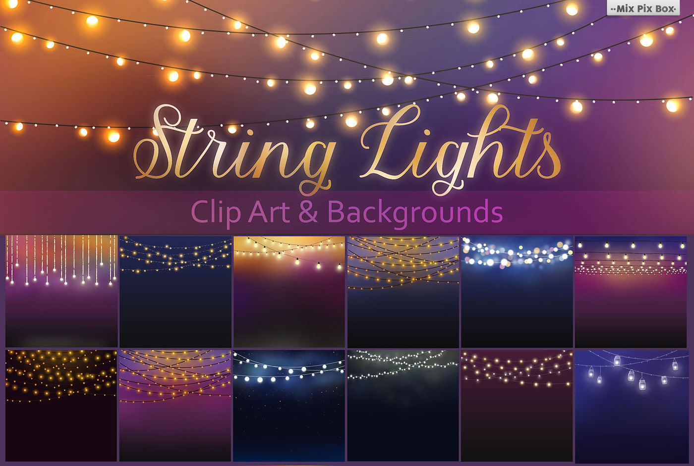 String Lights Clipart By Mixpixbox Thehungryjpeg Com