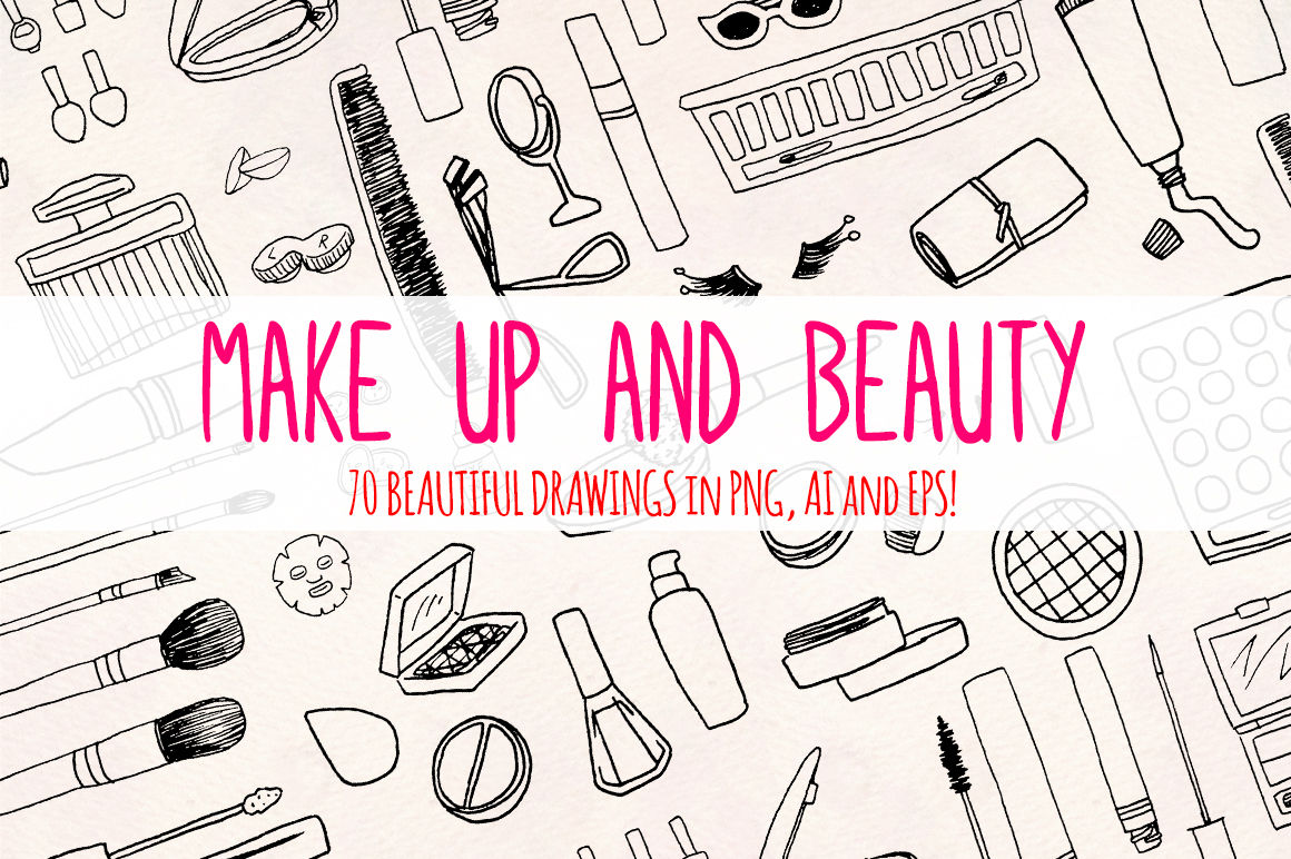 Beauty Sketches 70 Cosmetics And Make Up Illustrations Vector