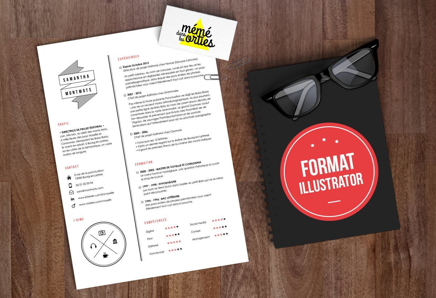 Cv Sam Resume Template Illustrator By Mémédanslesorties
