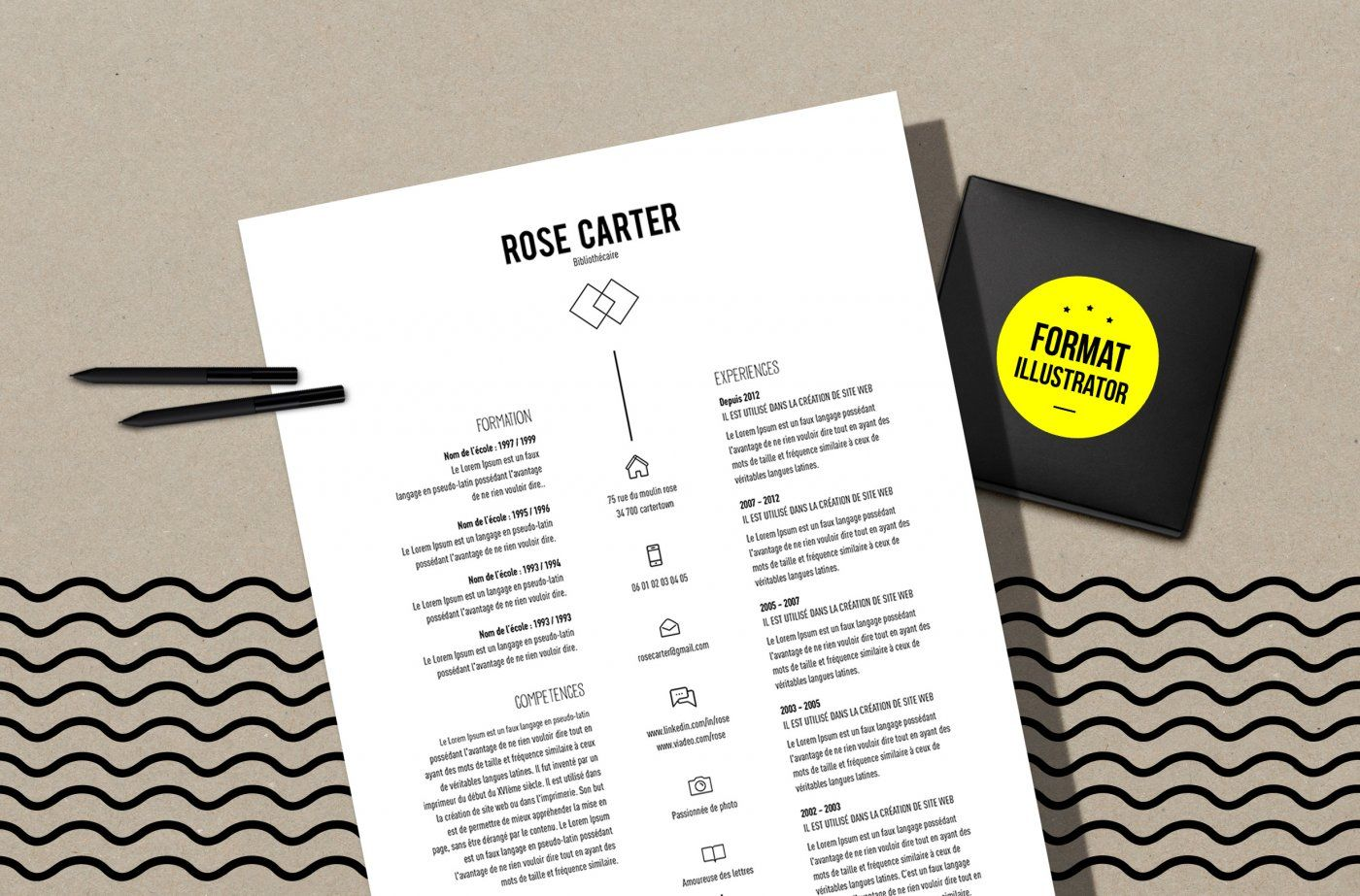 Cv Carter Resume Template Illustrator By Mémédanslesorties