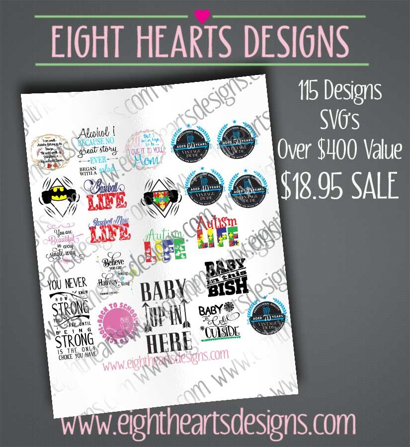 Over 115 Designs Collection Pack Value Deal Bundle By Eight Hearts