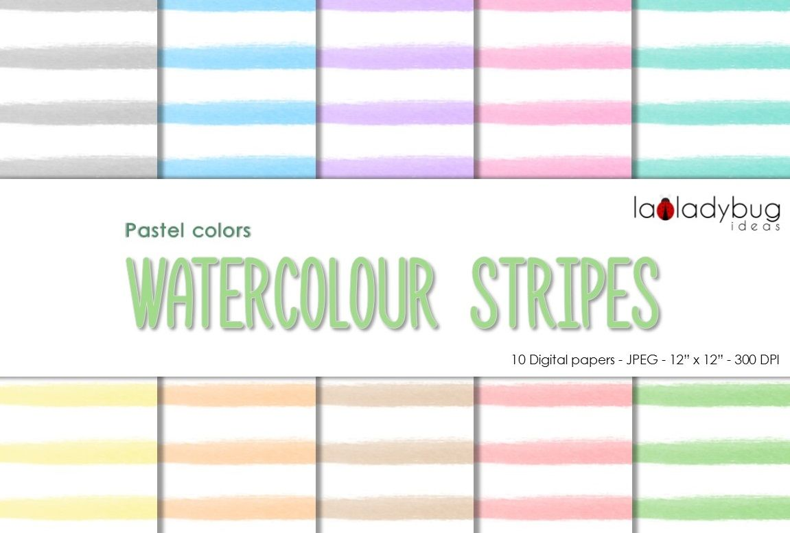 Watercolor Stripes Digital Paper Pastel Colors And White