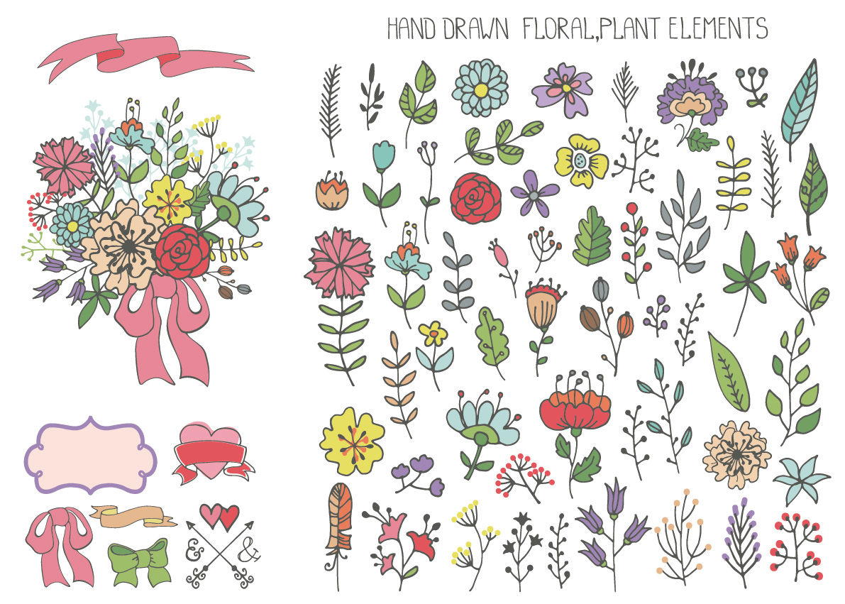 Doodle Flowers Hand Drawing Vector01 By Tatiana Kost