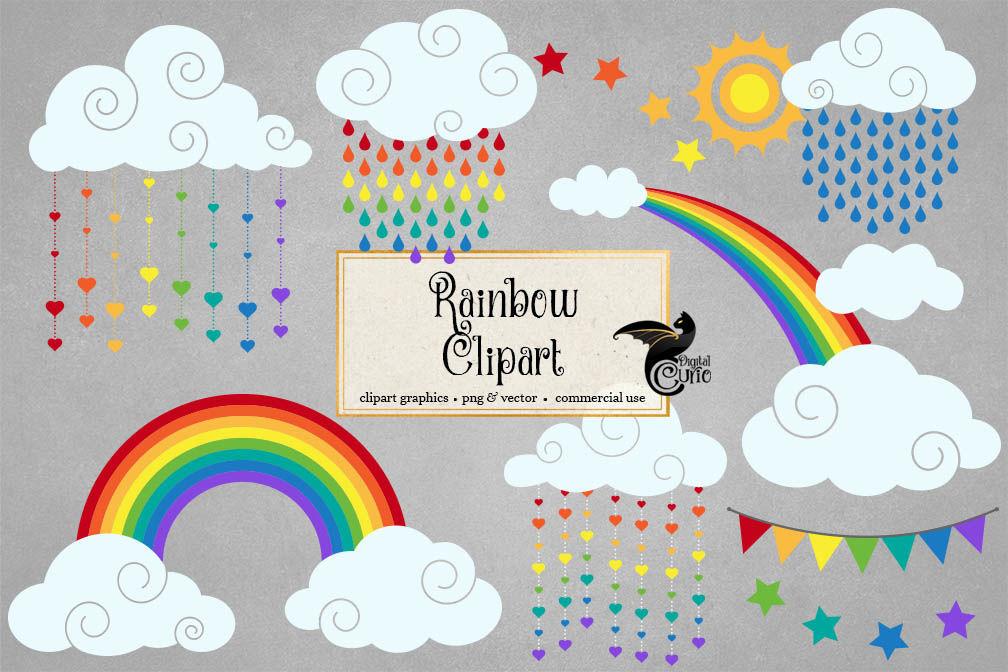Rainbow Vector Clipart By Digital Curio Thehungryjpeg Com