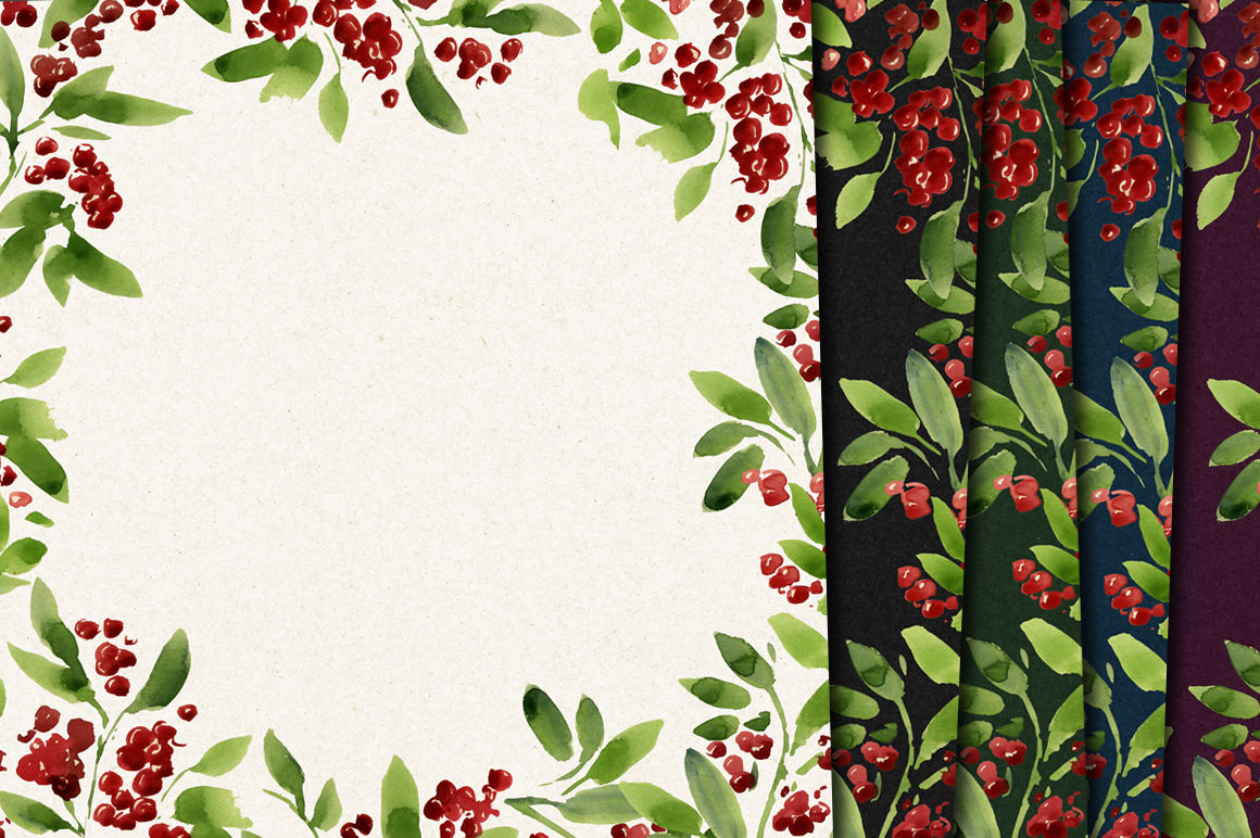 Christmas Paper Watercolor Background Floral Pattern Holiday By