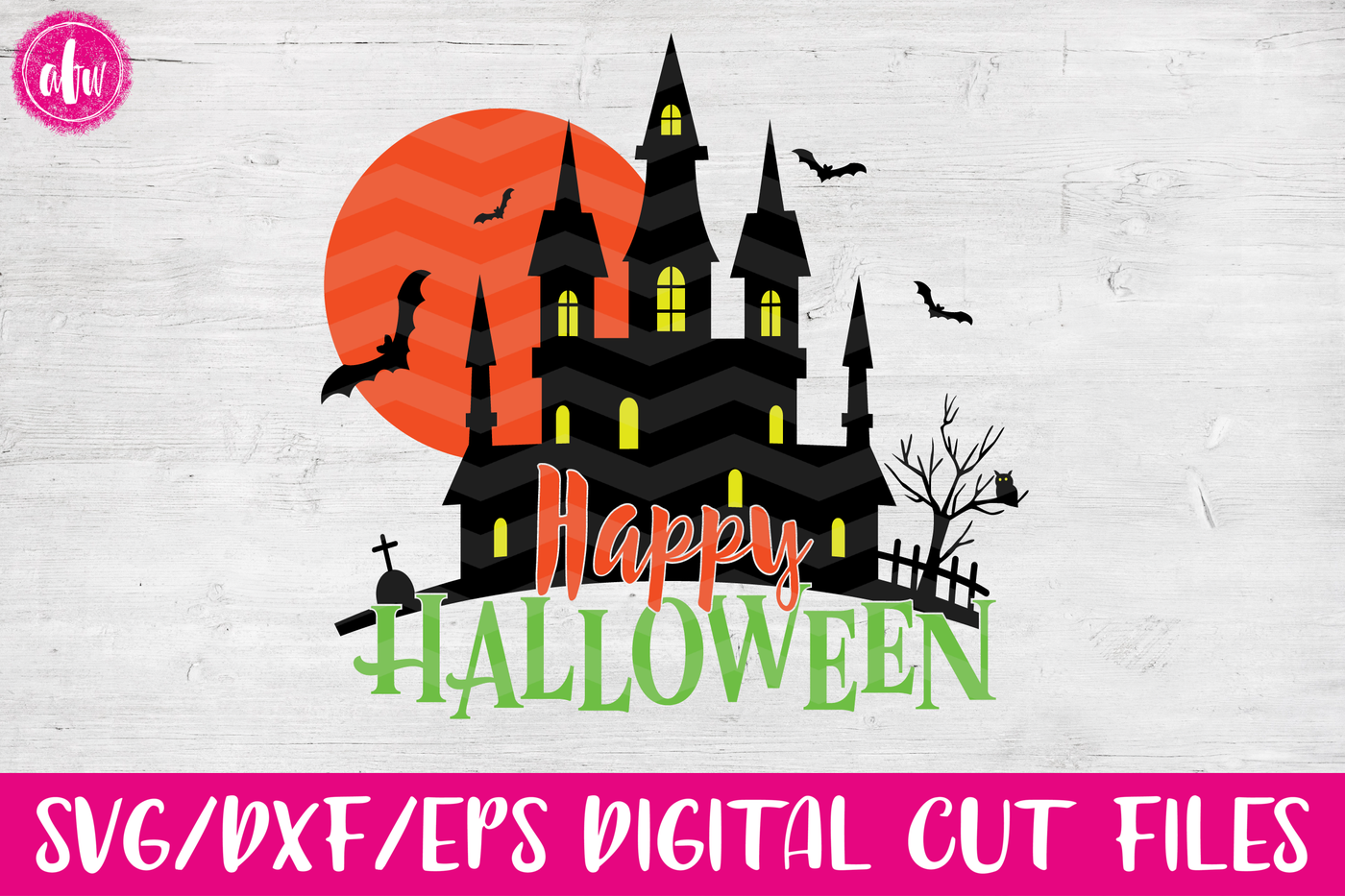 Happy Halloween Haunted House By Afw Designs Thehungryjpeg Com