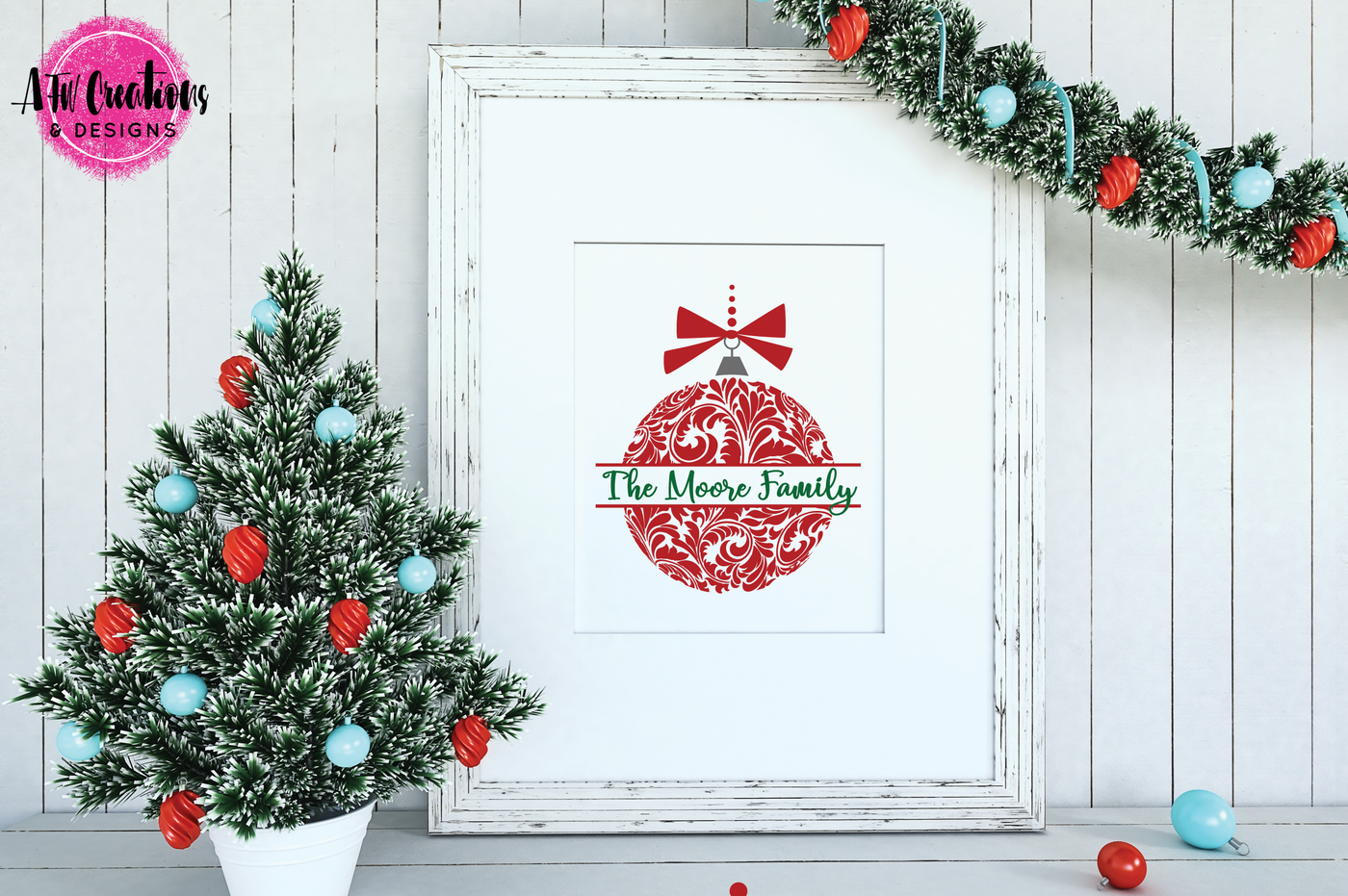 Flourish Christmas Ornaments Svg Dxf Eps Cut Files By Afw