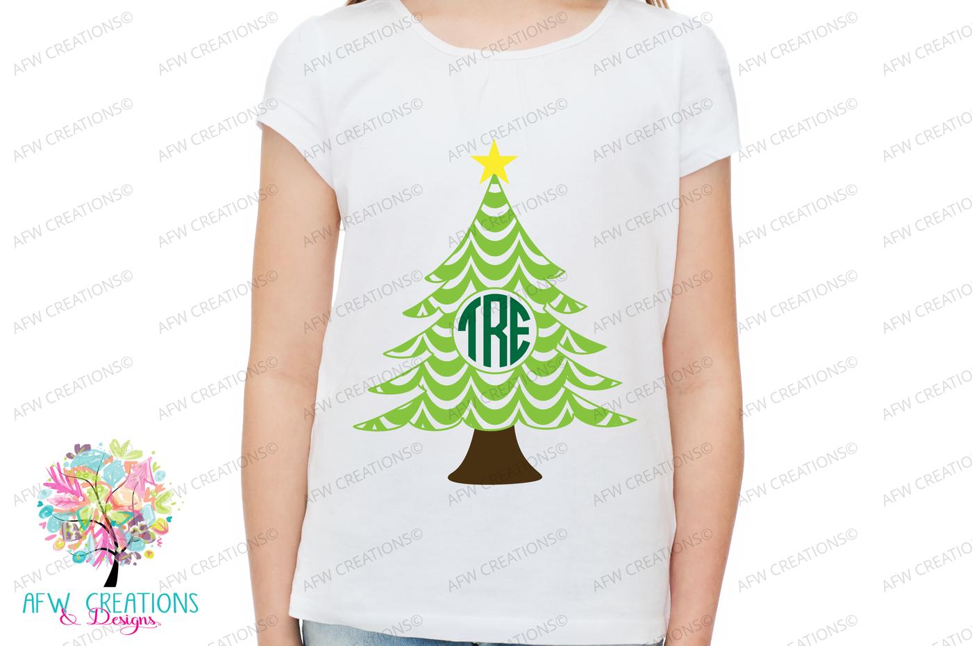 View Monogram Christmas Trees – Svg, Dxf, Eps Cut Files DXF