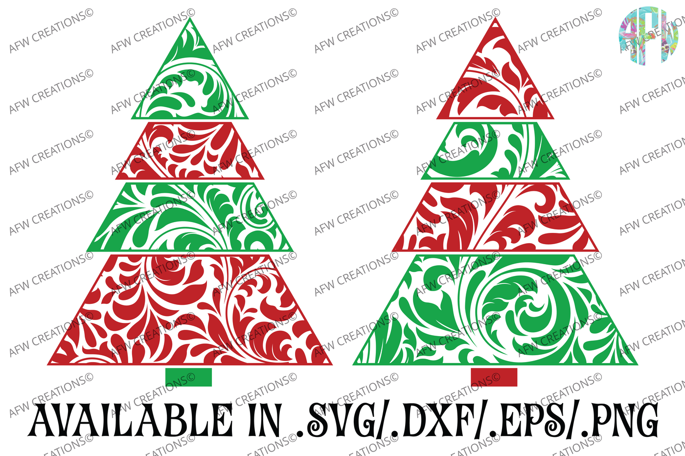 Swirl Christmas Trees Svg Dxf Eps Cut Files By Afw Designs Thehungryjpeg Com