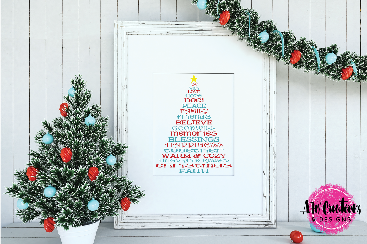 Christmas Word Trees Svg Dxf Eps Cut Files By Afw Designs