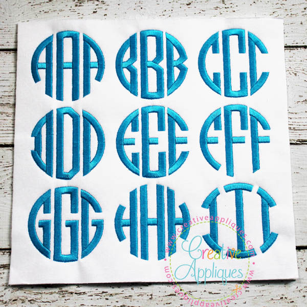 Natural Circle Monogram Embroidery Alphabet Font By Creative