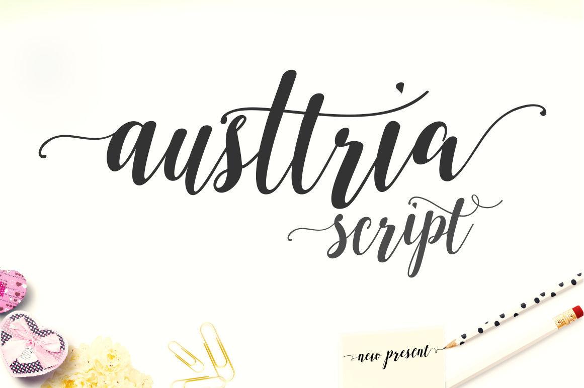 Austtria Script Letter By Genesis Lab Thehungryjpeg Com