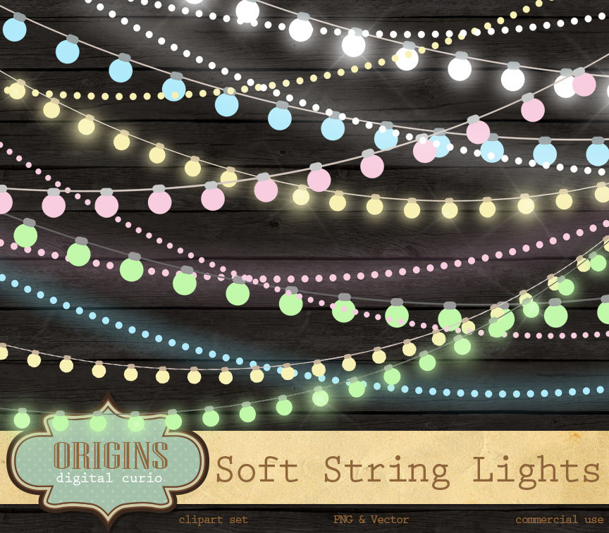 Soft Pastel String Lights Vector Clipart By Digital Curio