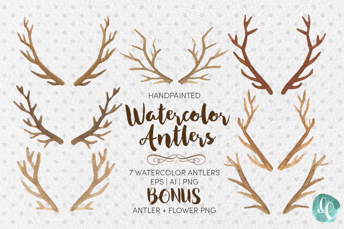 Watercolor Antlers Clip Art Ai Eps Png By Lilium Pixel Svg