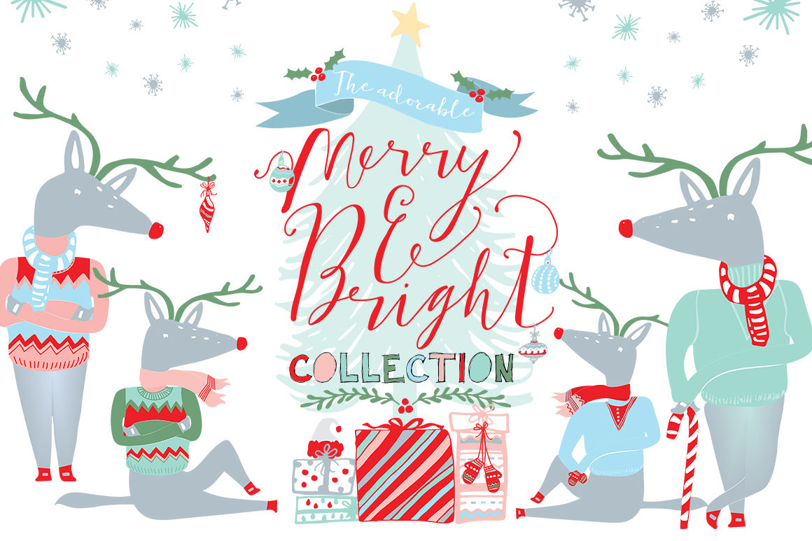 Merry And Bright Christmas Clipart By Creativeqube Design