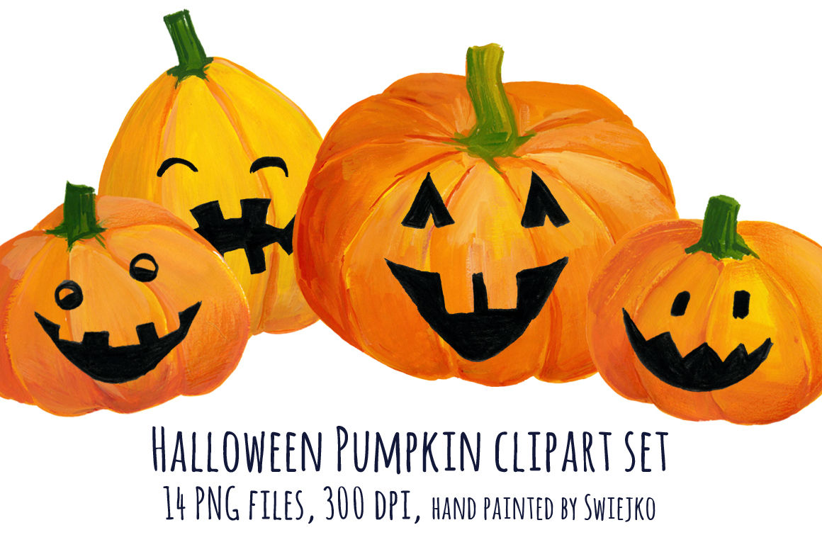 Hand Painted Pumpkin, Halloween Clipart, printable art ...