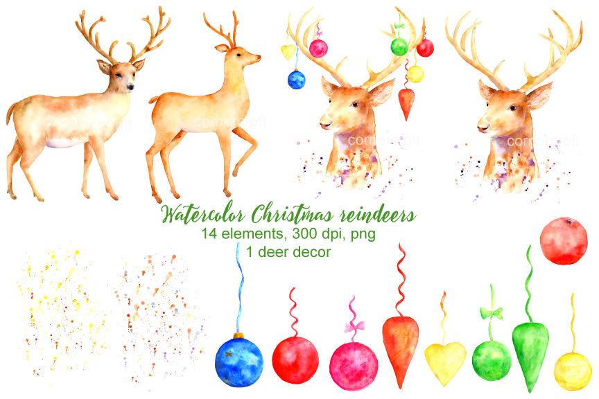 Christmas Reindeer Clipart By Cornercroft Thehungryjpeg Com