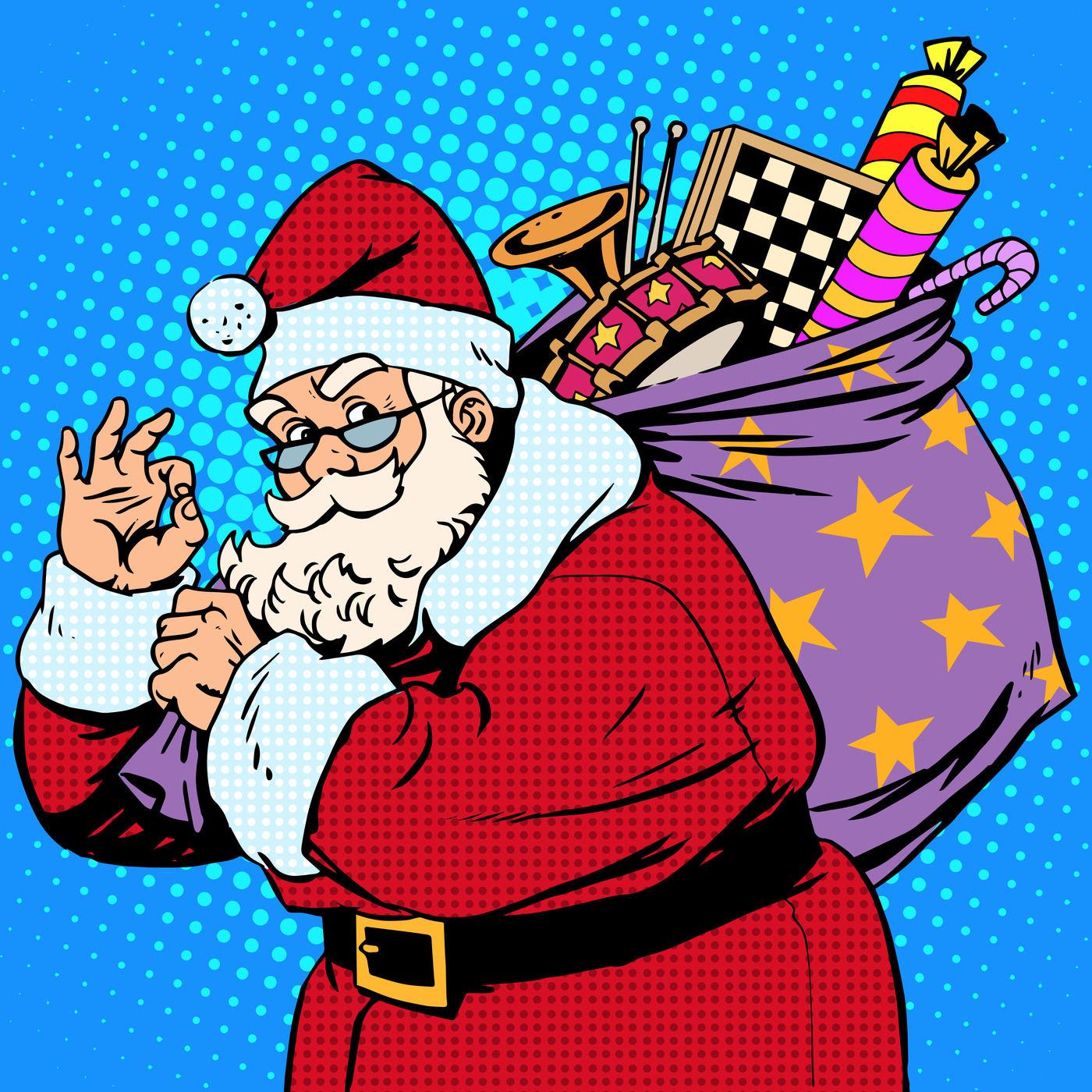 Christmas Set Pop Art Retro Santa By Studiostoks Thehungryjpeg Com