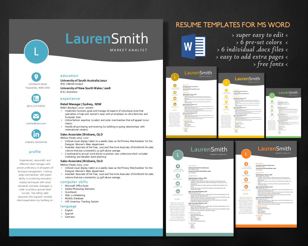 elegant 3 in 1 resume template for ms word by inkpower