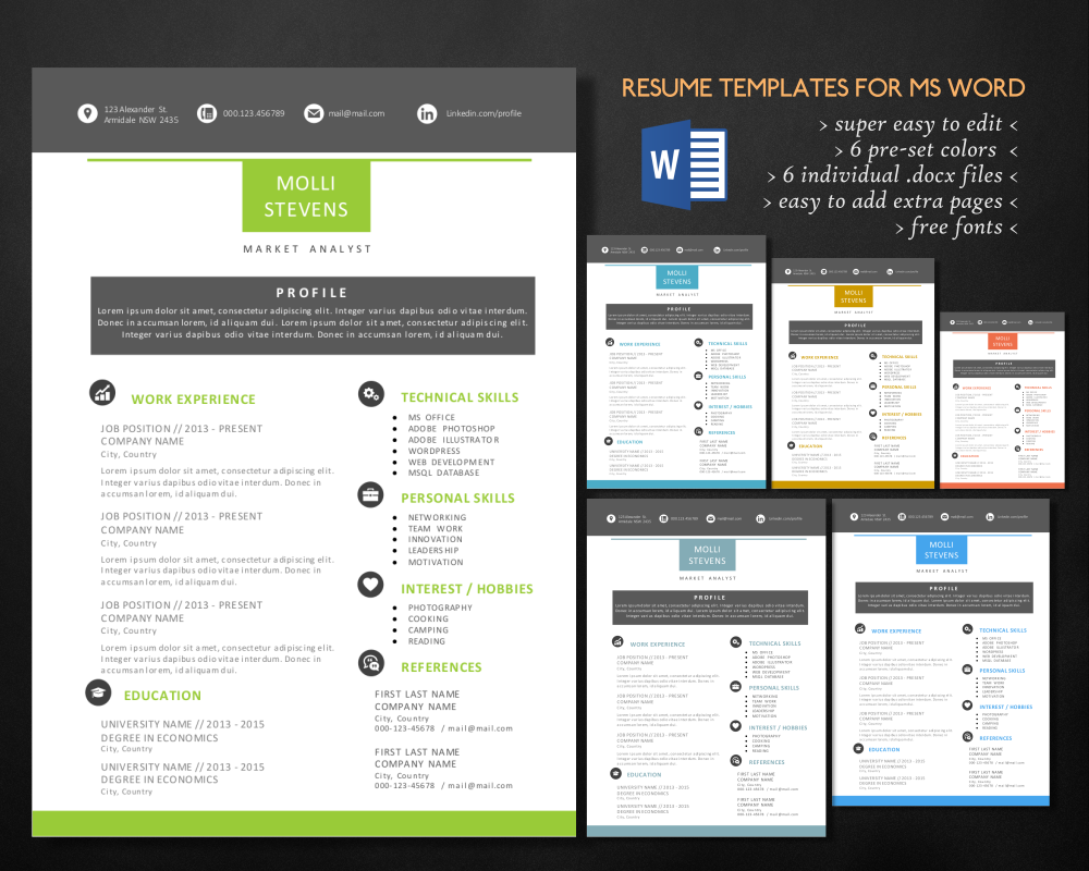 2 in 1 modern resume template for ms word by inkpower