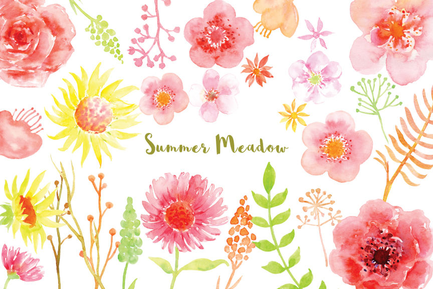 Summer watercolor. Clipart meadow by cornercroft