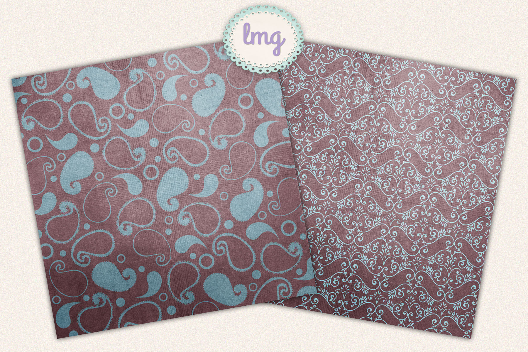 Blue And Teal Autumn Paisley Digital Scrapbook Paper By Lavender Mint Graphics Thehungryjpeg Com