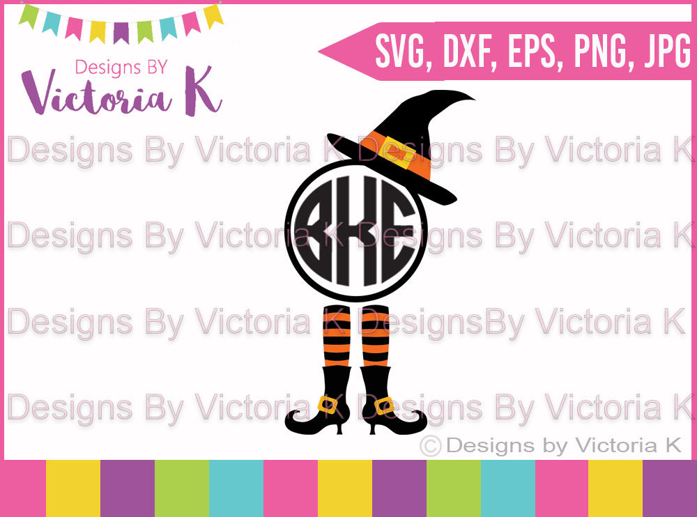 Witches Hat And Legs Monogram Svg Dxf Cut File By Designs By Victoria K Thehungryjpeg Com