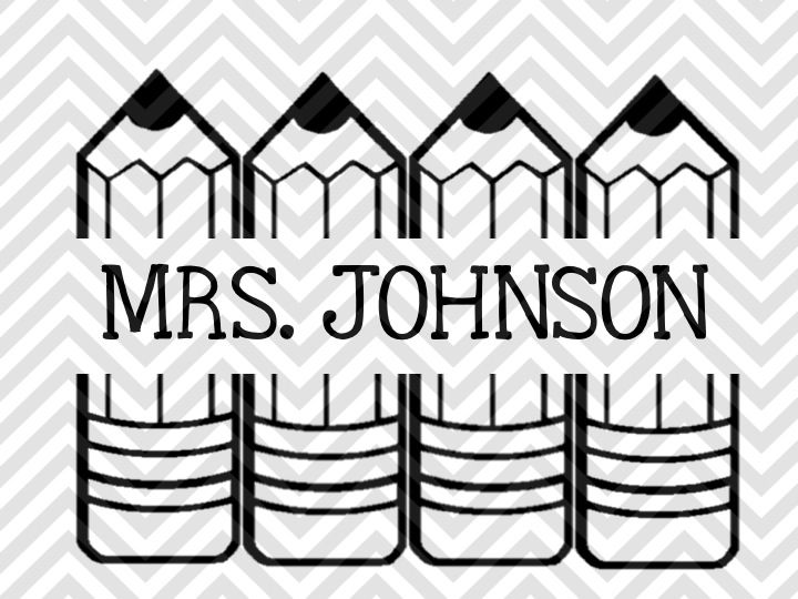 Pencils Monogram Teacher Name Tag Svg And Dxf Cut File By Kristin Amanda Designs Svg Cut Files Thehungryjpeg Com