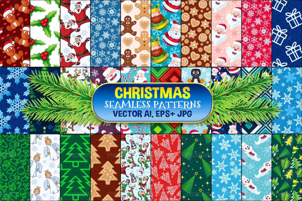 Christmas Seamless Pattern Set 1 By Pixaroma Thehungryjpeg