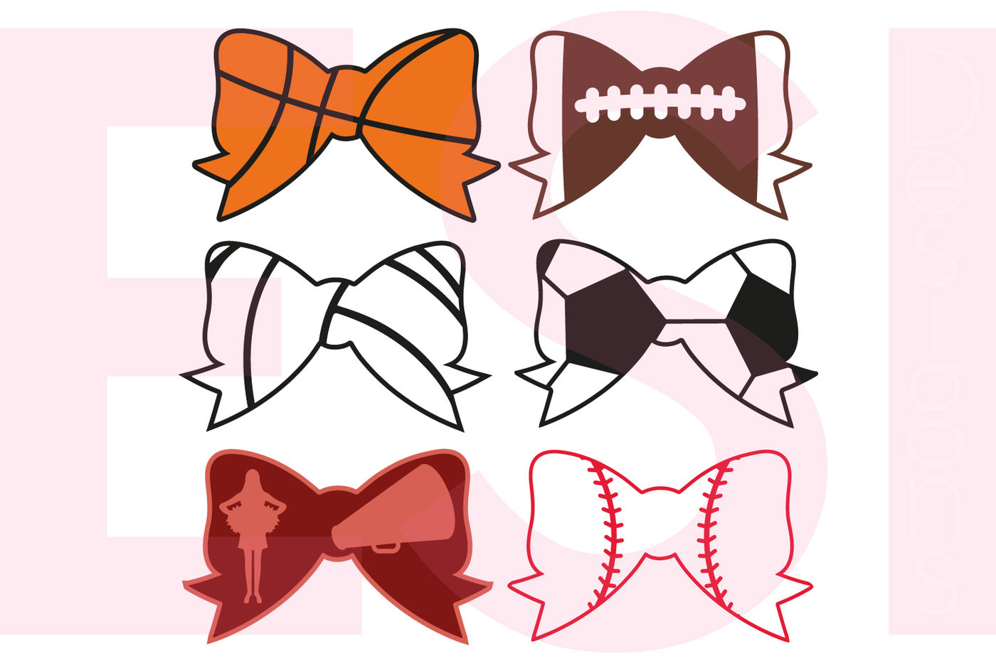 Sports Bow Designs Set Svg Dxf Eps Cutting Files By Esi