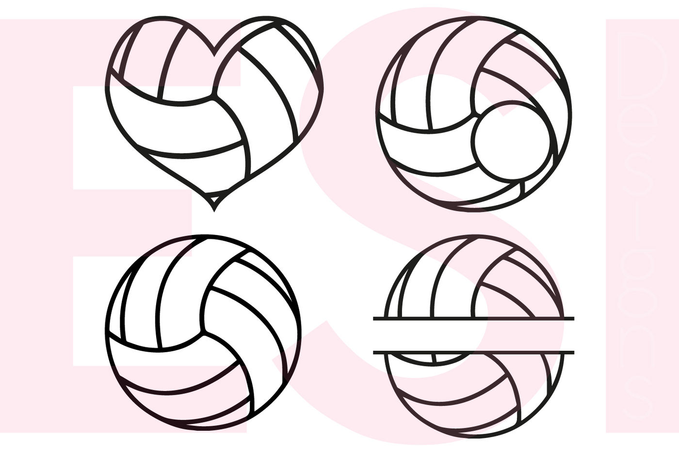 Volleyball Designs And Monograms Svg Dxf Eps Cutting Files By