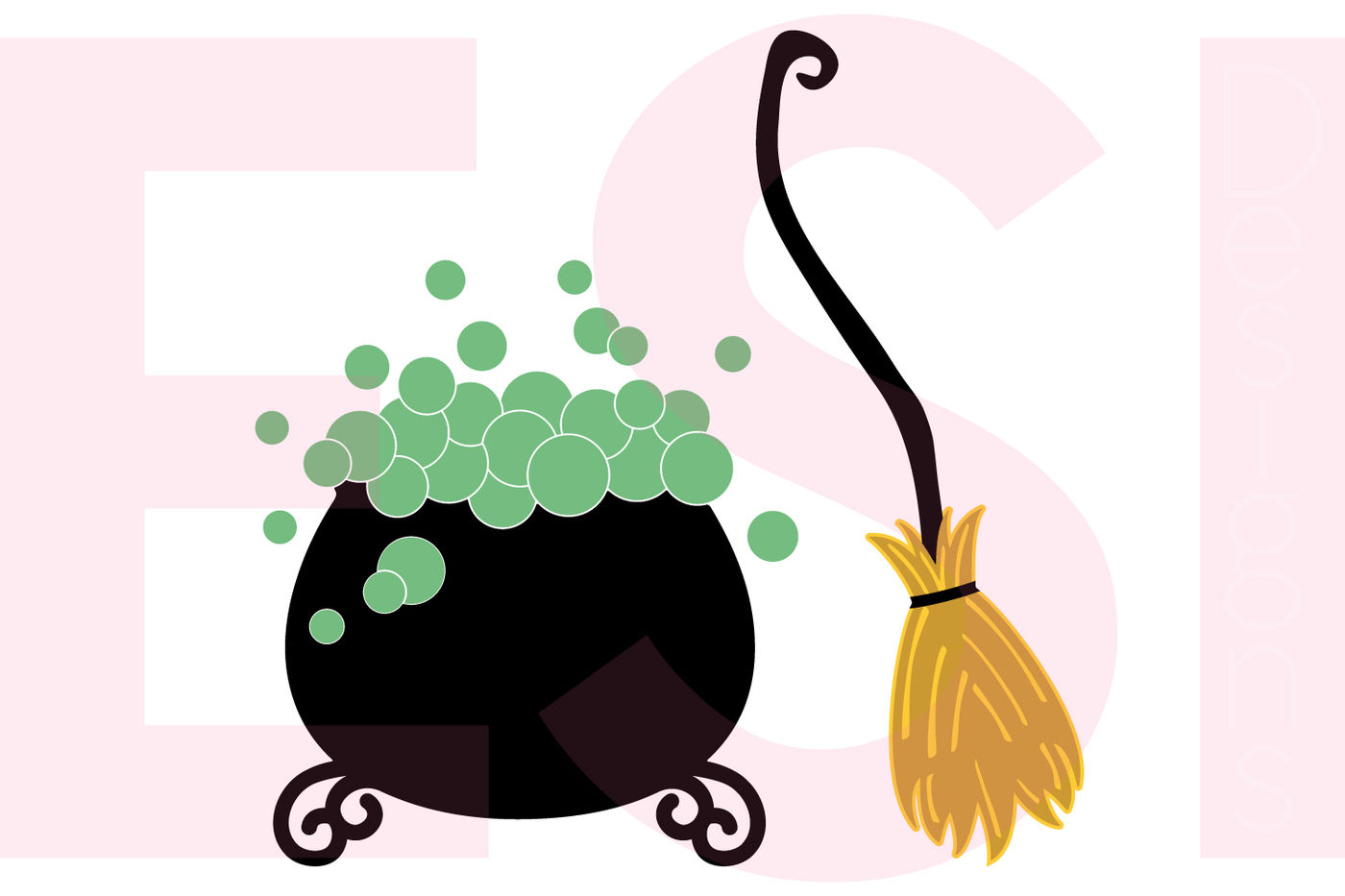Witches Cauldron And Broom Design Set Svg Dxf Eps Cutting Files By Esi Designs Thehungryjpeg Com